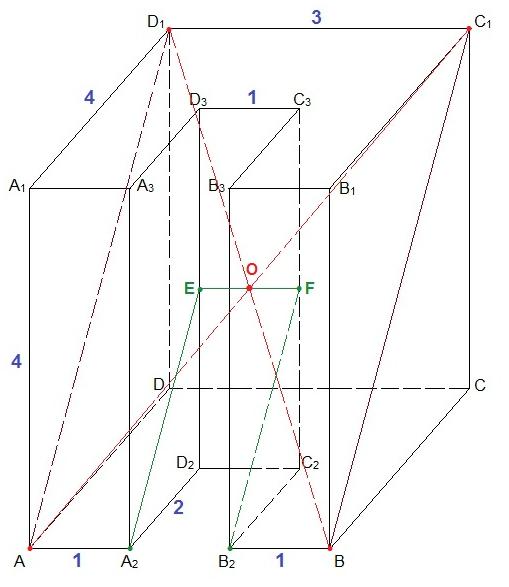 Постройте сечение многогранника плоскостью, проходящей через точки А, В и С1.