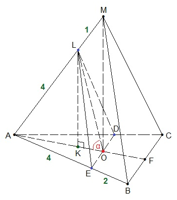 В правильной треугольной пирамиде МАВС с основанием АВС стороны основания равны 6, а боковые рёбра равны 5